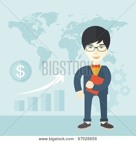A chinese office clerk standing holding a book under his arm. A Contemporary style with pastel palette, soft blue tinted background. Vector flat design illustration. Square layout.