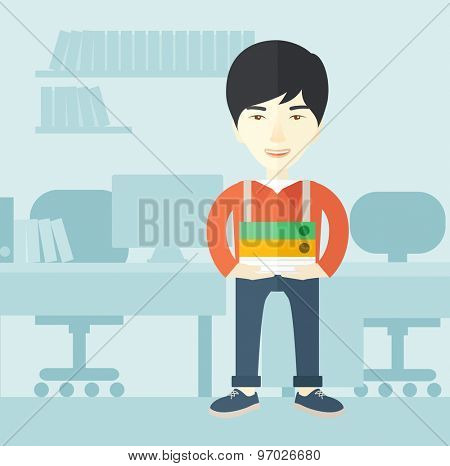An asian man standing while holding book files ready for his business presentation.  Planning concept. A Contemporary style with pastel palette, soft blue tinted background. Vector flat design