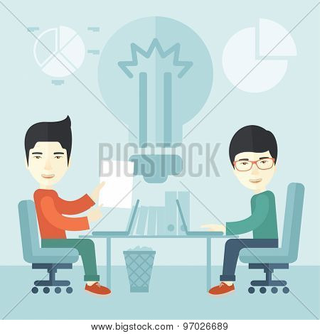 A Two japanese businessmen sitting working together getting a brilliant ideas from internet using their laptop. A Contemporary style with pastel palette, soft blue tinted background. Vector flat