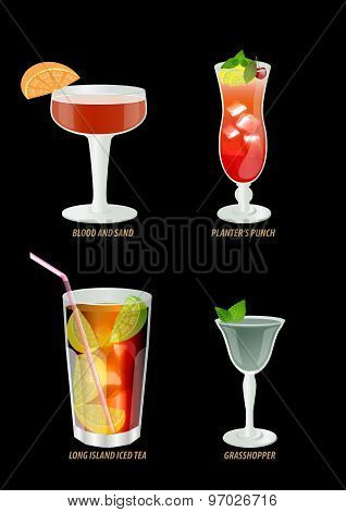 Illustration Of Popular Cocktails On A Dark Background.the Cocktail Menu.