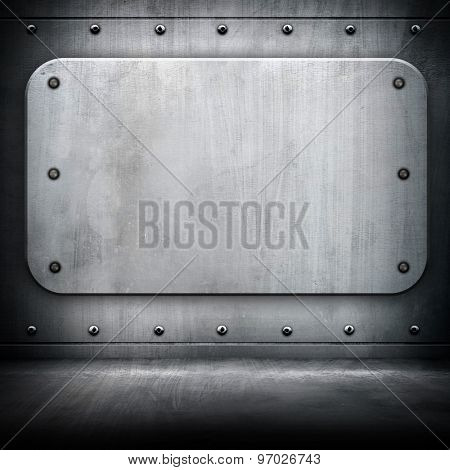 metal plate on interior background