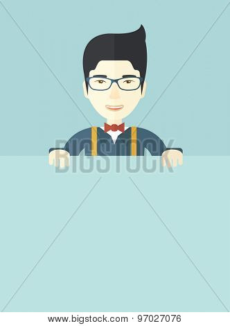 A chinese guy holding a white board. A Contemporary style with pastel palette, soft blue tinted background. Vector flat design illustration. Vertical layout.
