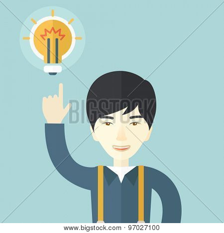 A happy asian guy raising his hand pointing the bulb having a good idea for business. Business concept. A Contemporary style with pastel palette, soft blue tinted background. Vector flat design