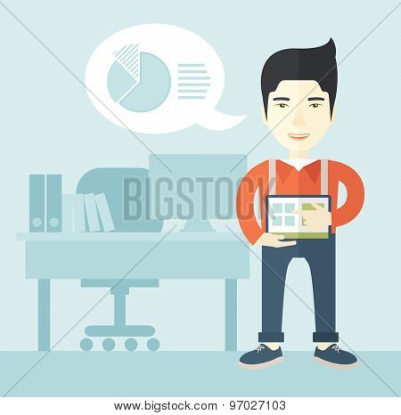 A chinese man standing while his hand pointing to the tablet to do his office presentation with the schedule of financial market. Business concept. A Contemporary style with pastel palette, soft blue