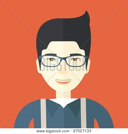 A happy asian guy. A Contemporary style with pastel palette, orange tinted background. Vector flat design illustration. Square layout.