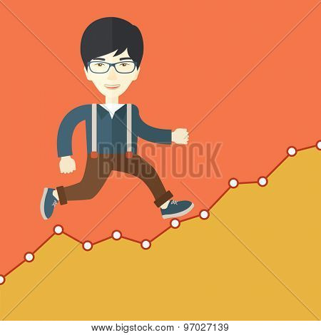A chinese Businessman runs up the hill. A Contemporary style with pastel palette, orange tinted background. Vector flat design illustration. Square layout.