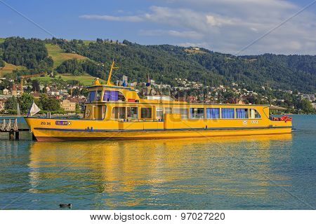 Yellow Ship On The Lake Zug