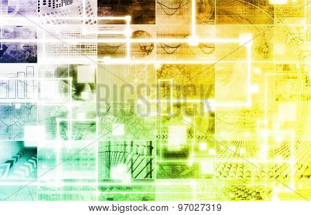 Technology Background with Geometric Shapes Moving Art