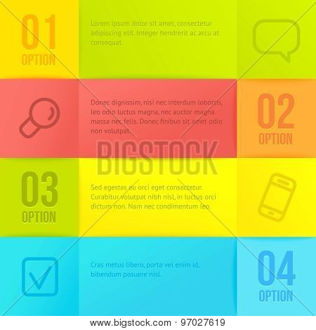 Vector infographic template with copyspace. Abstract paper squares background.