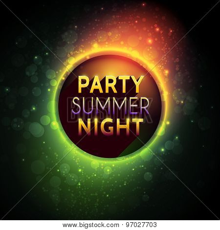 Vector colorful flyer premium template for summer night party with bokeh lights