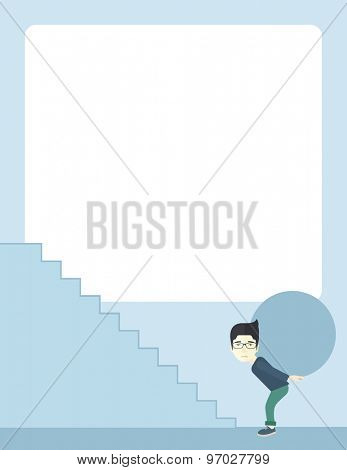 A chinese businessman sacrifice in carrying a big ball going up to reach the goal. A Contemporary style with pastel palette, soft blue tinted background. Vector flat design illustration. Vertical