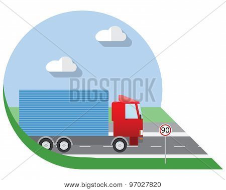 Flat Design Vector Illustration City Transportation, Small Truck For Transportation Cargo, Side View