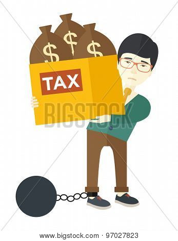 A chinese businessman locked in a debt ball in chain for committing crime in tax evasion. Debt concept. A contemporary style. Vector flat design illustration with isolated white background. Vertical