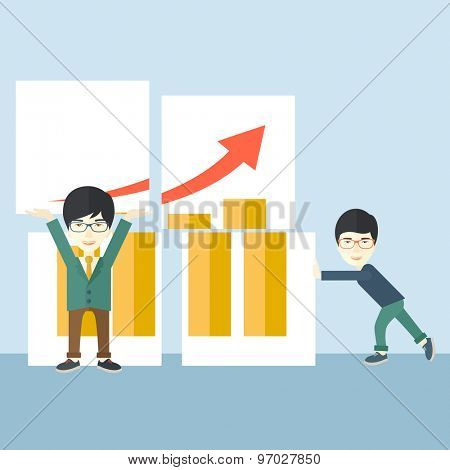 Two happy chinese businessmen are both successful in business that shows in the graph. Business growth concept. A Contemporary style with pastel palette, soft blue tinted background. Vector flat