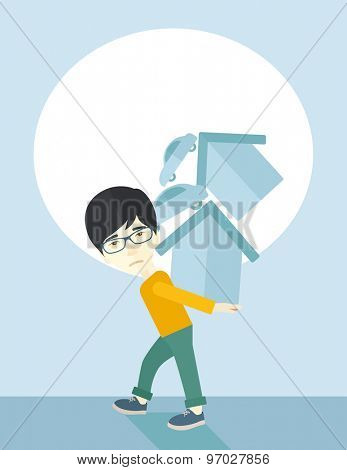 A sad chinese man carrying house and car as his loan or debt from the bank. A Contemporary style with pastel palette, soft blue tinted background. Vector flat design illustration. Vertical layout.