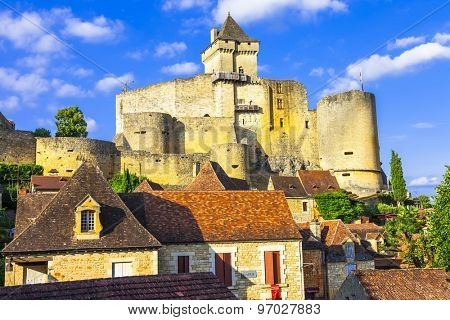 beautiful medieval castle Castelnaud in Dordogne. France