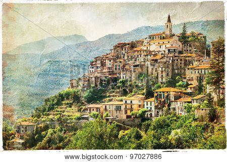 authentic beautiful village Apricale, Liguria, Italy