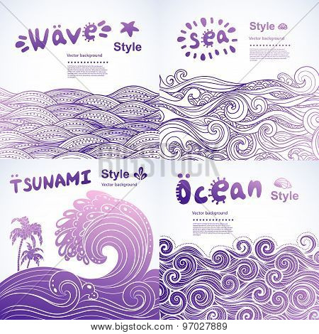 Set of 4 Vector abstract waves backgrounds