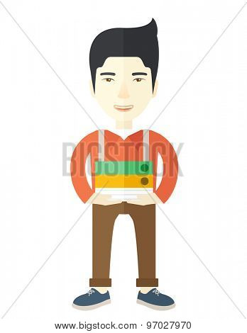 An asian Stressful but happy employee standing in office carrying his finished file report ready to submit to his superior. Busy concept. A Contemporary style. Vector flat design illustration isolated