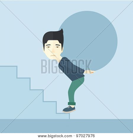 A chinese businessman sacrifice in carrying a big ball going up to reach the goal. A Contemporary style with pastel palette, soft blue tinted background. Vector flat design illustration. Square layout