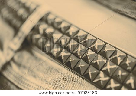 Belt Of Metal Studs Or Pyramid