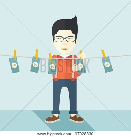 A chinese businessman standing hanging his money has a financial problem. He enter into money laundering business. Bankruptcy concept. A contemporary style with pastel palette soft blue tinted