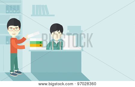 An asian man standing giving a paper work to do to chinese man sitting, stressful man in office with stack of paper on his desk. Business concept in overload work and very busy. A contemporary style