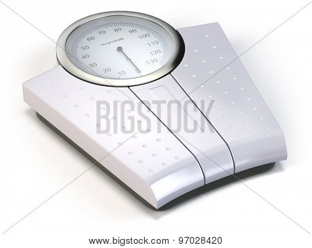 Bathroom weight scale isolated on white. 3d
