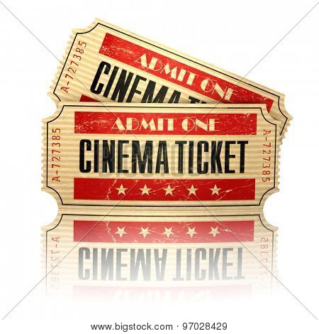 Retro cinema tickets isolated on white. 3d