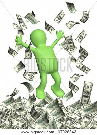 Happy 3d man leaping and a money rain with dollar banknotes. Isolated on white background