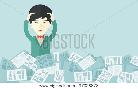 A japanese employee has a lot to do work with those papers around him and having a problem on how to meet the deadline of his report. Disappointment Concept. A contemporary style with pastel palette