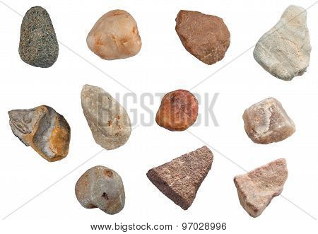 Set Of Stones Isolated On White Background. Natural Minerals Mined In Russia.