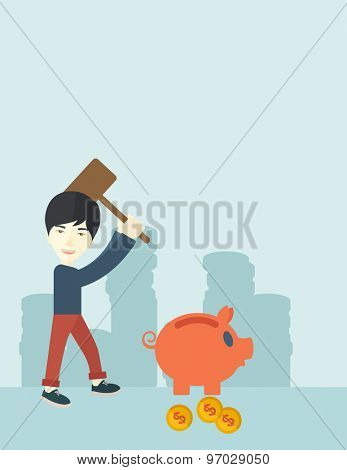 A chinese businessman standing while holding a hammer breaking piggy bank with dollar coins for financial assistance of his foreclosure business. Financial crisis concept. A contemporary style with