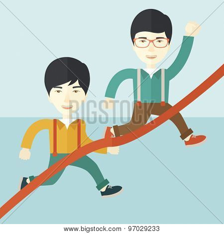 A two happy asian guy running to the finish line for meeting the deadline. Winner, victory concept. A contemporary style with pastel palette soft blue tinted background. Vector flat design