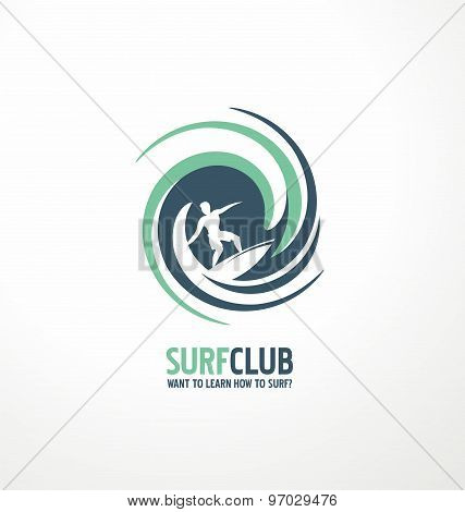 Surfing club logo design layout