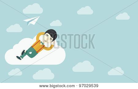 An asian man is relaxing while lying on a cloud with paper plane. A contemporary style with pastel palette soft blue tinted background with desaturated clouds. Vector flat design illustration