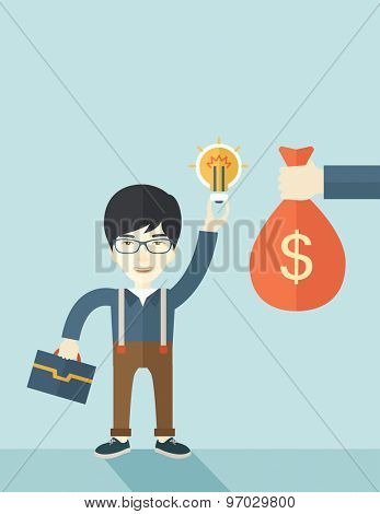 An asian young man exchange his hand with idea bulb to hand of money bag. Exchanging concept. A contemporary style with pastel palette soft blue tinted background. Vector flat design illustration