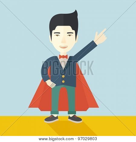 A hero chinese businessman pointing up high to the sky with success and vision to be number one in business. Motivation concept. A Contemporary style with pastel palette, soft blue tinted background