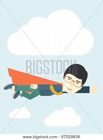 A superhero asian businessman flying high to achieve his goal. Challenge concept. A Contemporary style with pastel palette, soft blue tinted background with desaturated clouds. Vector flat design