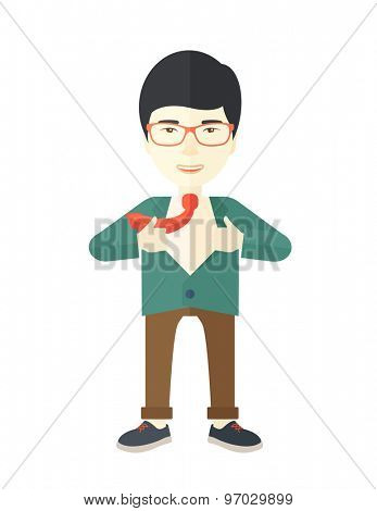 A happy working chinese man want to change his clothes as to change his position in the company. Successful concept. A Contemporary style. Vector flat design illustration isolated white background