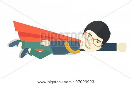 A superhero asian businessman flying high to achieve his goal. Challenge concept Contemporary style. Vector flat design illustration isolated white background. Horizontal layout.