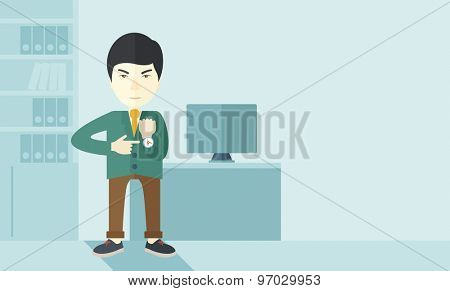 A chinese manager is angry pointing finger to his wristwatch showing the time that is already late for the employees to arrive. Late concept. A contemporary style with pastel palette soft blue tinted