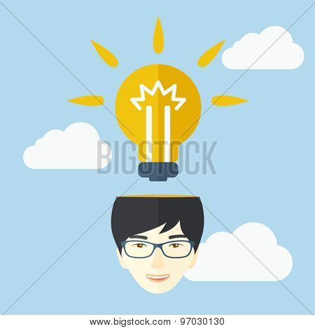 A chinese businessman has a bright idea for marketing strategy with a bulb on his head. Human intelligence concept. A contemporary style with pastel palette soft blue tinted background with
