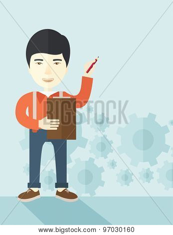 A chinese lecturer preparing his report on statiscal diagram with his pen and notebook. A contemporary style with pastel palette soft blue tinted background. Vector flat design illustration. Vertical