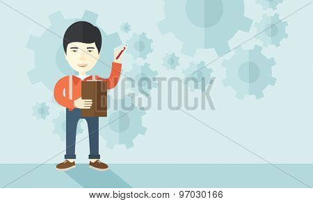 A chinese lecturer preparing his report on statistical diagram with his pen and notebook. A contemporary style with pastel palette soft blue tinted background. Vector flat design illustration