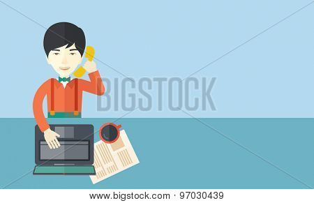 A chinese office man sitting at his working desk with his laptop and having a telephone conversation. Business concept. A contemporary style with pastel palette soft blue tinted background. Vector