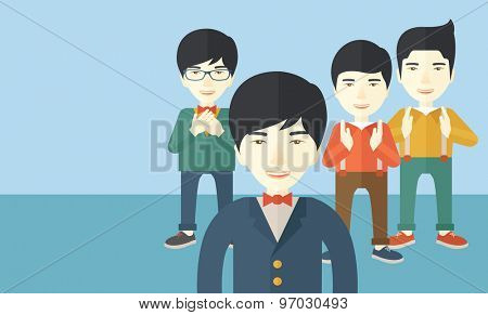 A handsome asian businessmen happy standing showing for their successful in life. . A Contemporary style with pastel palette, soft blue tinted background. Vector flat design illustration. Horizontal