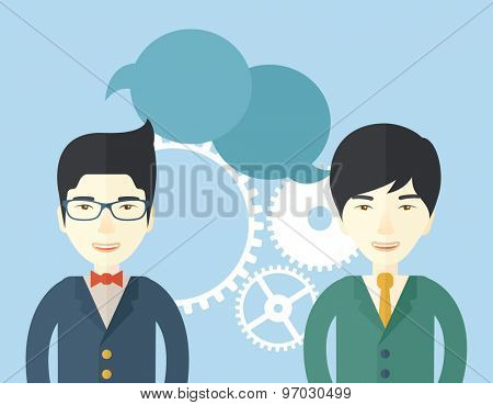 An asian business people with chat empty bubble. A Contemporary style with pastel palette, soft blue tinted background. Vector flat design illustration. Square layout.