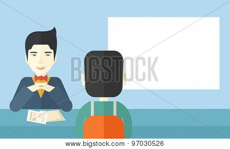 A smiling chinese human resource manager interviewed the applicant with his curriculum vitae for the job vacancy. Employment, recruitment concept. A contemporary style with pastel palette soft blue