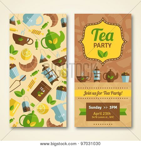 Tea party announcement 2 vertical banners
